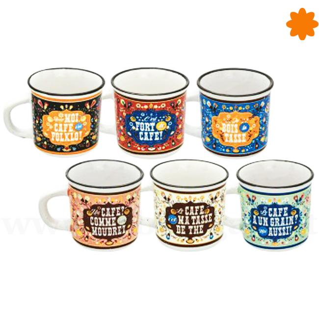 Pack de seis tazas para tomar té o café con estampados retros