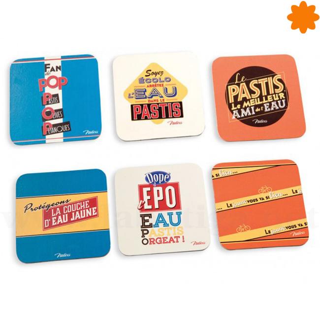 Pack posavasos de colores con decoración de estilo retro
