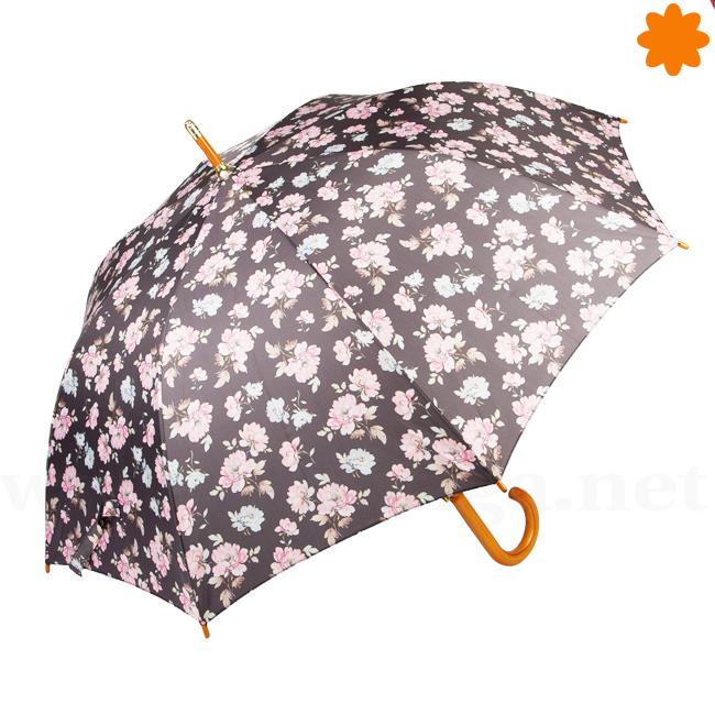 Paraguas negro y rosa con estampado de flores vintage