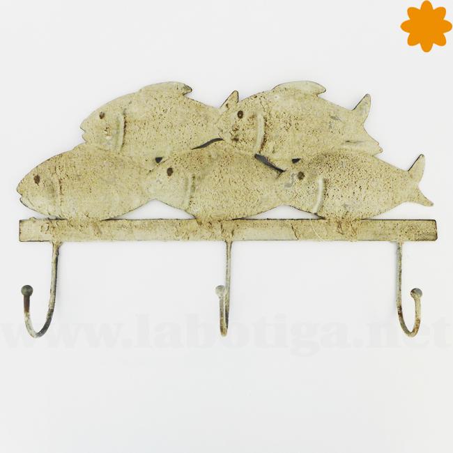 Perchero de peces de metal para colgar en la pared