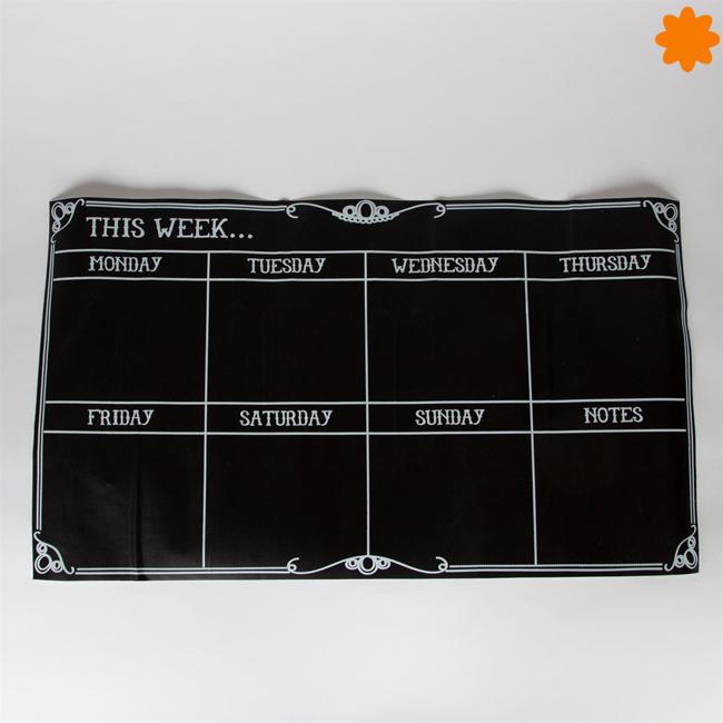 Pizarra con calendario semanal para pegar en la pared