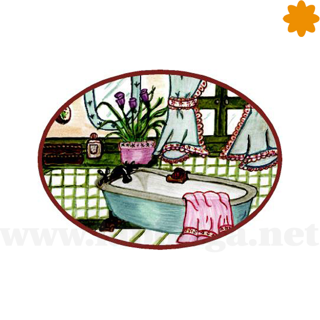 Placa de BañoChic VintageDibujo de una bañerayventana