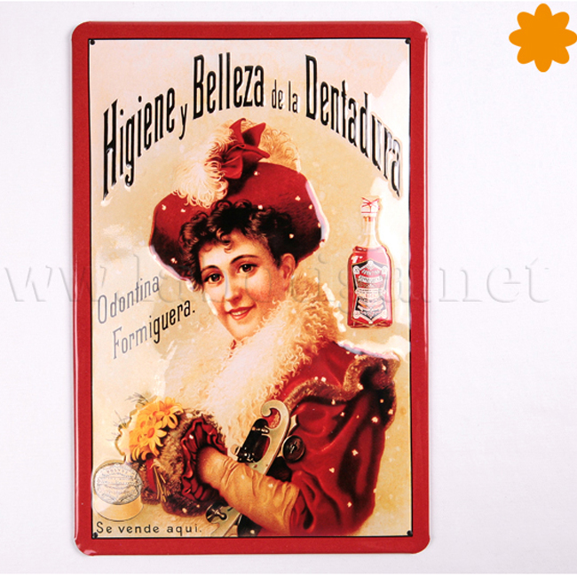 Placa metálica publicidad vintage Odontina Formiguera