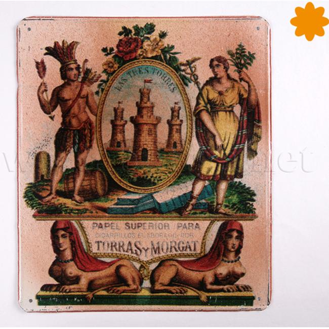 Placa metálica retro papel de fumar Torres y Morgat