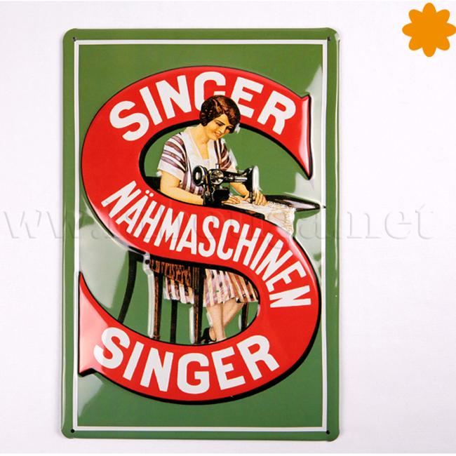 Placa metálica vintage Cartel publicitario Singer máquinas de coser
