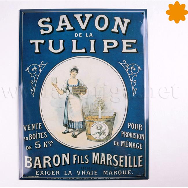 Placa metal Savon de la Tulipe Baron fils Marseille