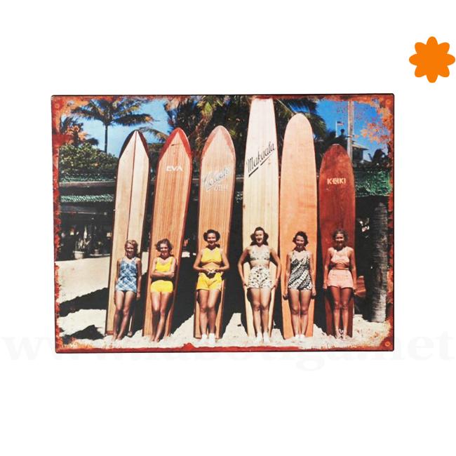 Póster dedicado al surf y la playa fabricado con metal para regalar
