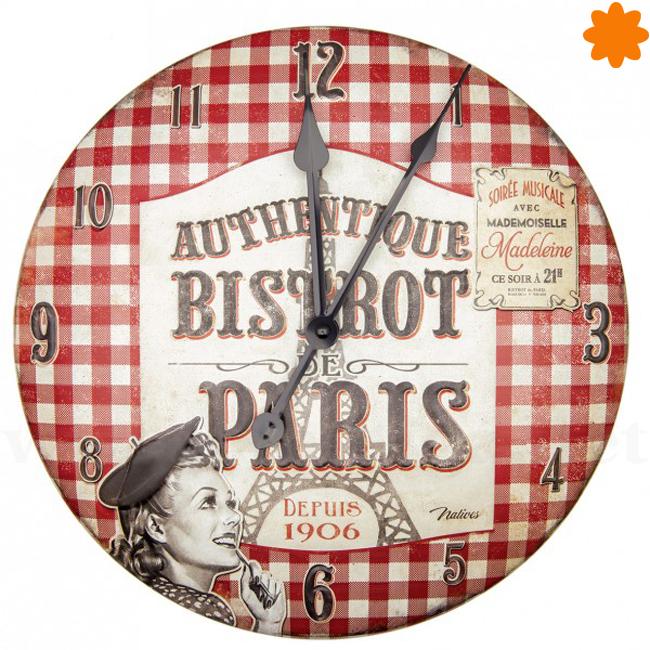 reloj de pared de estilo retro de la colección Bistrot de Paris
