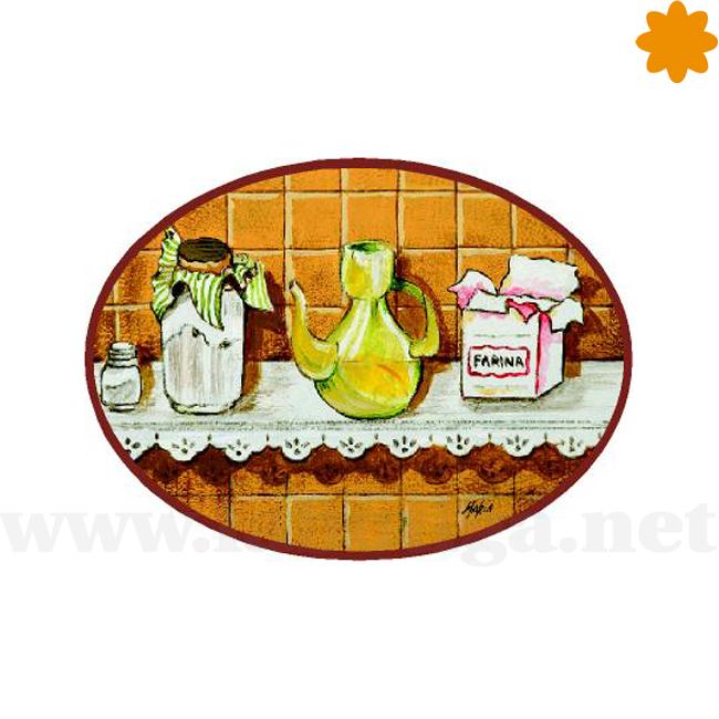 Rótulo de puerta con bodegón rústico de cocina tradicional