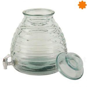 tarro colmena de cristal con grifo de plástico
