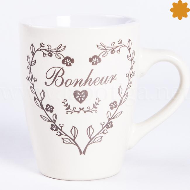 Taza de cerámica de color blanco bonheur