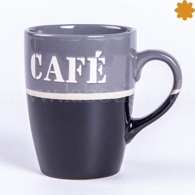 TTaza de café fabricada con cerámica de tonalidades grises y negras