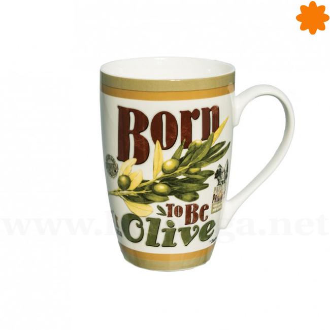 Taza de porcelana Born to be olive para desayunar