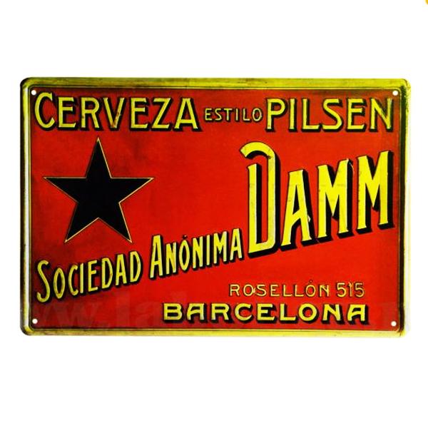 Placas Metálicas Decorativas de la Cerveza Estrella Damm