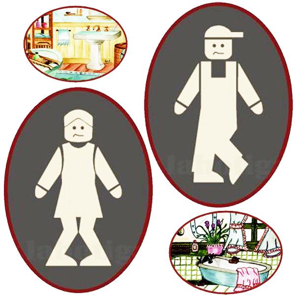 Placas para puertas de WC, Baño, Servicio, Lavamanos