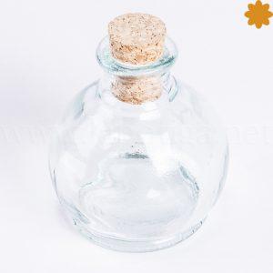 botella de cristal peque a con forma de bombilla y tapon de corcho