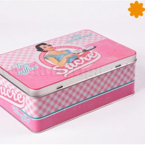 caja vintage rosa para guardar ingredientes soucre