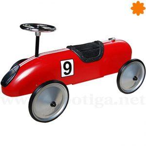 Correpasillos de carreras retro de color rojo numero 9