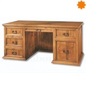 Mesa escritorio cajonera rústica de madera