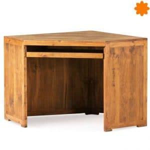 Mesa escritorio esquinero de madera rústica natural