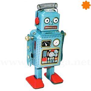 Robot autómata pequeño de color azul con muelle en la cabeza