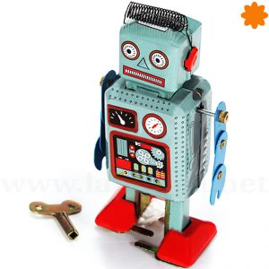 Robot color azul con muelle en la cabeza