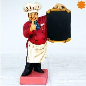 Figura de cocinero pequeño con pizarra de menú