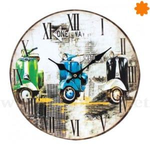 Reloj para colgar en la pared decorado con 3 Motos Vespa