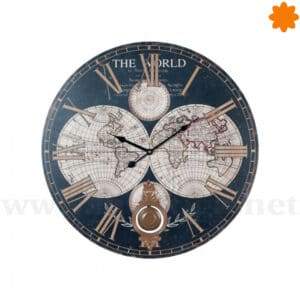 Gran reloj para colgar en la pared mapamundi azul marino y péndulo