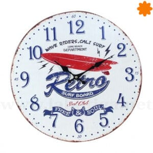 Reloj de madera para pared Retro Surf Board