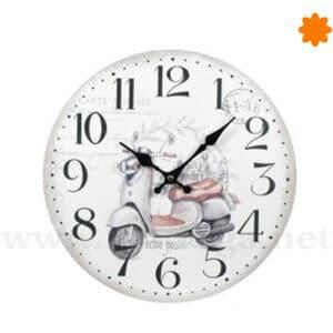 Reloj de pared estilo Chic Shabby con una Vespa