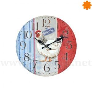 Reloj de pared rojo, blanco y azul con un gallo