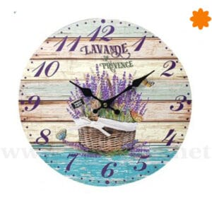 Reloj para pared de madera estilo Provence Lavande