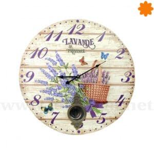 Reloj de pared decorado con Lavande de Province y péndulo
