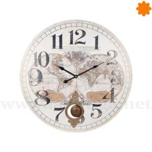 Gran reloj de pared con mapa vintage blanco y péndulo