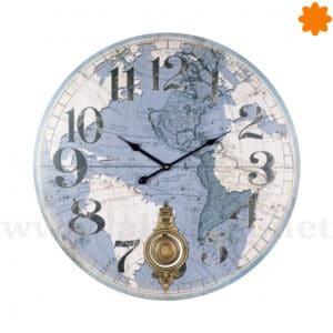 Reloj de pared grande con atlas del mundo y péndulo