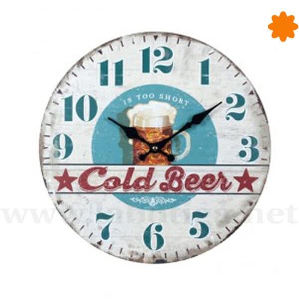 Reloj de colgar temática cervezas Its Too Short Cold beer