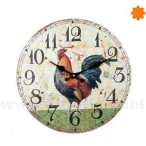 Reloj redondo para colgar decorado con un gallo