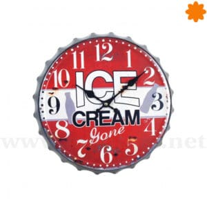 "Reloj de pared estilo chapa de botella ""Ice Cream"""