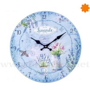 Reloj de pared dedicado a la lavanda en color azul