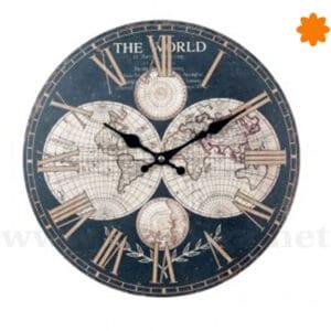 Reloj de pared con mapa del mundo azul marino estilo vintage