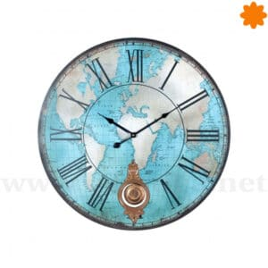 Reloj de pared del planisferio del mundo color azul