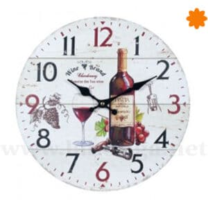 Reloj para la pared decorado con uvas y vino
