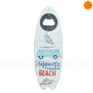 Abrebotellas con forma de tabla de surf Happiness is walk on the beach