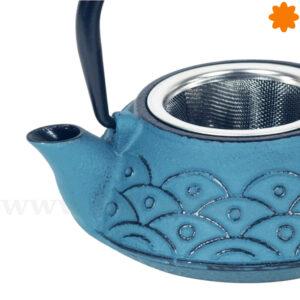 Tetera de hierro colado color azul oscuro de 40 cl