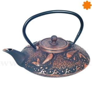 Tetera de hierro colado negro cobre