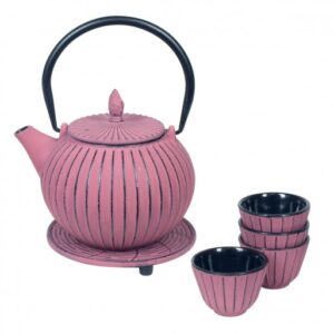 Set de tetera vaso y salvamantel de hierro fundido color rosa