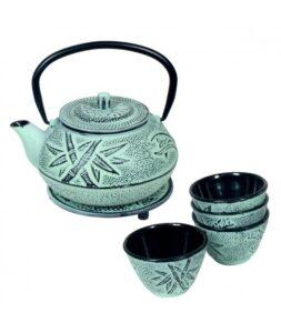 Set de tetera, vasos y salvamantel color azul gastado textura bambu