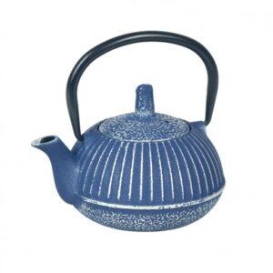Tetera de hierro colado de color azul oscuro