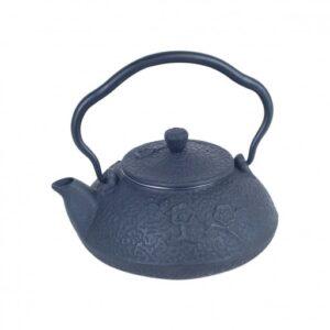 Tetera de hierro colado color azul gris oscuro